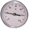 Thermomètre rond plonge axiale 0 à 120°C Ø63mm