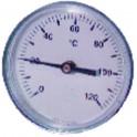 Thermomètre rond plonge axiale 0 à 120°C Ø80mm plonge 50mm