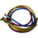 Jeu de 3 flexibles R410A FF 1/4'' x 5/16'' SAE avec vanne - GALAXAIR : SA-CT360-410