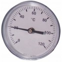 Thermomètre rond plonge axiale 0 à 120°C Ø80mm plonge 100mm - DIFF