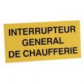 Étiquette rigide interrupteur général de chaufferie